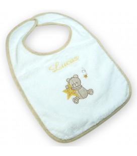 Bavoir bébé ourson brodé avec prénom