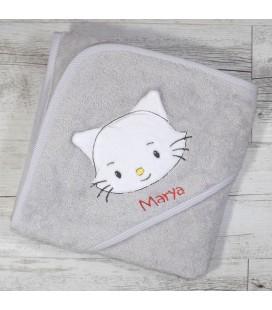 Cape de bain petit chat broderie prénom