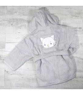 Peignoir petit chat prénom brodé