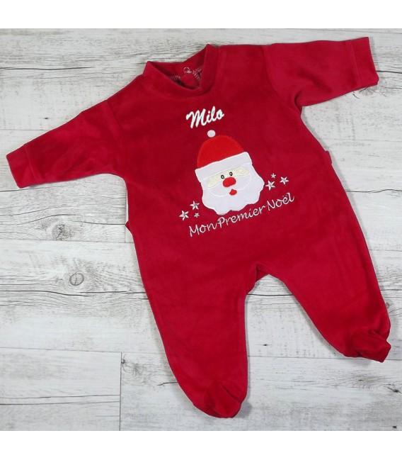 Pyjama bébé premier noel brodé prénom