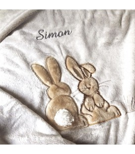 Plaid lapins personnalisé prénom