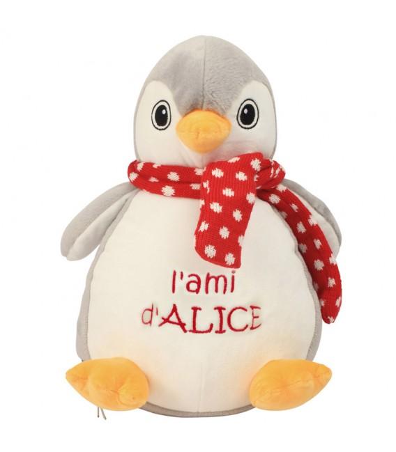 Peluche pingouin avec son prénom brodé