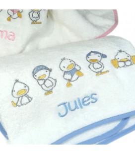 Serviette bébé petit canard personnalisé