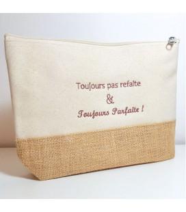 Trousse coton et jute personnalisée écru