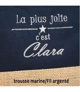 Trousse coton et jute personnalisé marine
