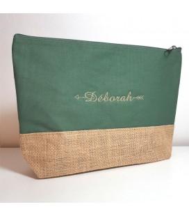 Trousse coton et jute personnalisé vert mousse