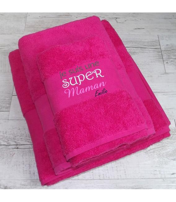 Serviette de bain maman personnalisé fête des mères