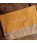 Trousse coton et jute personnalisée jaune