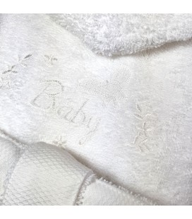 Peignoir de bain BABY brodé et personnalisé avec un prénom