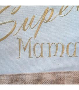 Sac shopping coton et jute personnalisé avec un prénom