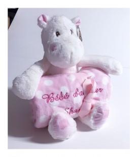 Peluche hippopotame avec sa couverture