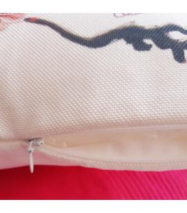 Coussin Perroquet Ara  toile aspect lin 40x40cm
