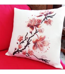 Coussin Fleurs de cerisier toile aspect lin 40x40cm
