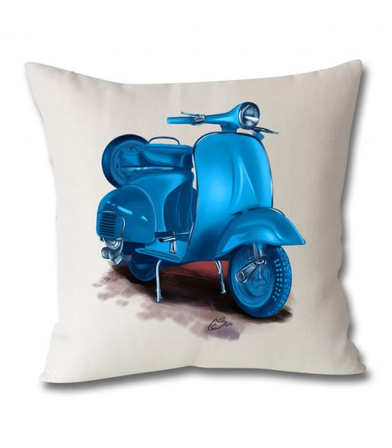 Coussin vespa scooter toile aspect lin 40x40cm