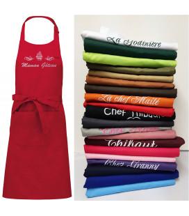 Tablier de cuisine personnalisé et brodé, 100% coton