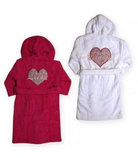 Peignoir enfant coeur personnalisé