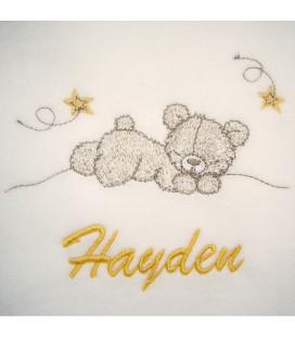 plaid bébé ourson personnalisé avec un prénom