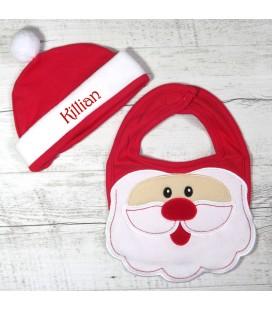 Ensemble bavoir et bonnet de Noël